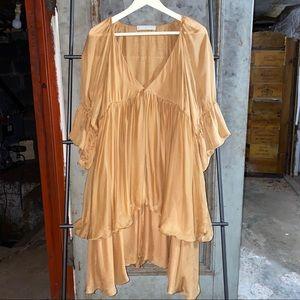 Stella McCartney Runway Ochre Chiffon Tiered Dress